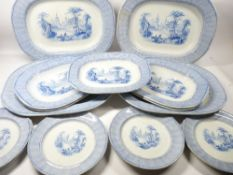 CHINESE VILLA DRESSER SET possibly Elkin and Newbon, 17 pieces to include 46cms meat platters (4),