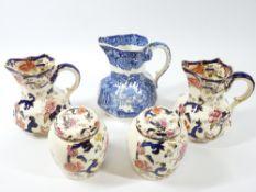 MASONS MANDALAY-a pair of octagonal jugs 11cms tall, a pair of ginger jars, and a Blue & White Vista