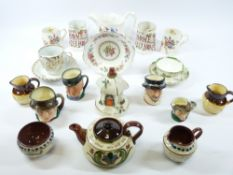 ASSORTED CHINA & POTTERY including a pair of 'Home Sweet Home' jugs, 11cms tall, Torquay ware, Royal