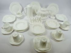 SHELLEY CHINA DAINTY WHITE TEA, COFFEE & BREAKFASTWARE, 25 plus pieces including teapot and coffee