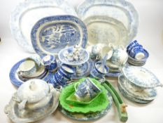 BLUE & WHITE DRESSER PLATTERS and a large quantity of other Blue & White dinner, tableware, ETC also