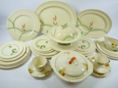 ART DECO STYLE TABLEWARE - a large assortment including Royal Doulton 'Lynn'
