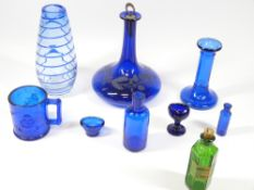 BRISTOL TYPE BLUE & OTHER GLASSWARE, a collection, to include a wheel cut squat decanter and