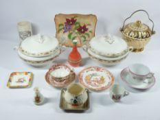 STAFFORDSHIRE TUREENS - a pair with lids, Royal Doulton 'Magnella' plate, Welsh commemorative