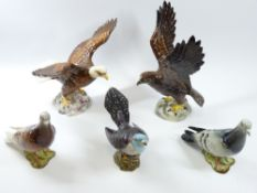 BESWICK PIGEONS/DOVES (2), a Golden Eagle, a Bald Eagle and a cuckoo (5 pieces), 26cms the tallest