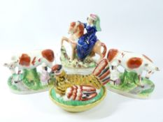 STAFFORDSHIRE POTTERY - The Queen flatback, 22cms H, a pair of cows and milk maid and a 'hen on