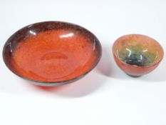 MONART GLASSWARE SHALLOW BOWL and one other, possibly the same maker, the larger in mottled