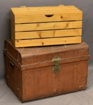 VINTAGE TIN TRUNK with brass lock and iron carry handles, along with a modern slatted pine box,