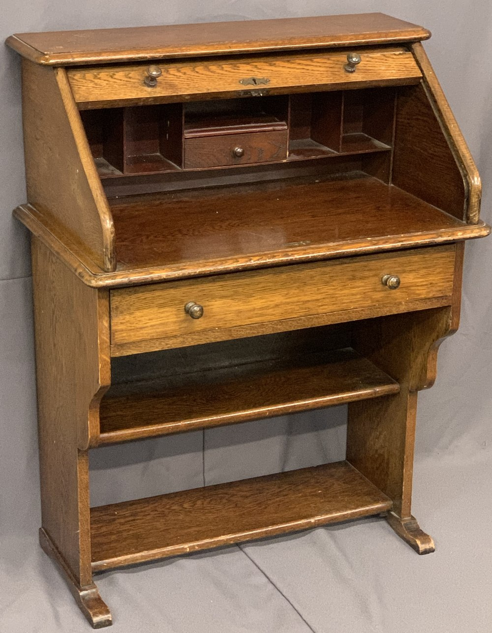 POLISHED ROLL TOP DESK - compact with shelved interior on an open base, 102cms H, 77cms W, 44cms D - Image 2 of 6