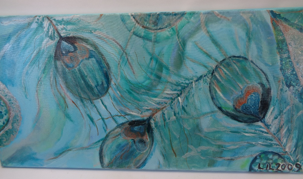 LIL 2009 oils on canvas (a pair) - titled verso 'Feather Frenzy', on stretchers, 60 x 120cms - Image 2 of 3