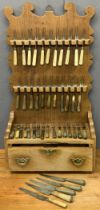 INTERESTING FRUITWOOD?? CUTLERY RACK & CONTENTS to include bone, horn and wooden handled forks and