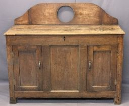 ANTIQUE OAK RAILBACK SIDEBOARD CONVERSION (EX COFFER) - with a shaped railback and central