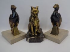 FRENCH ART DECO STYLE BOOKENDS, A PAIR and one other, the pair cast as shoebills stamped 'Jamar'