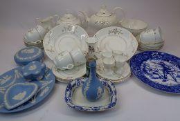 WEDGWOOD JASPERWARE, BLUE & WHITE WARE, VICTORIAN PART BREAKFAST SET - a mixed quantity