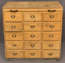MID-CENTURY LIGHT WOOD CHEST OF 15 SMALL DRAWERS - with office style pulls, 92.5cms H, 92cms W,