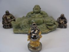 CARVED SOAPSTONE & OTHER COMPOSITION SEATED & STANDING BUDDHAS (4) - 20cms H, 38cms W, 20cms D the