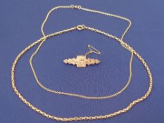 9CT GOLD JEWELLERY, 3 ITEMS - a Victorian Sweetheart brooch with arrow through a crowned heart in