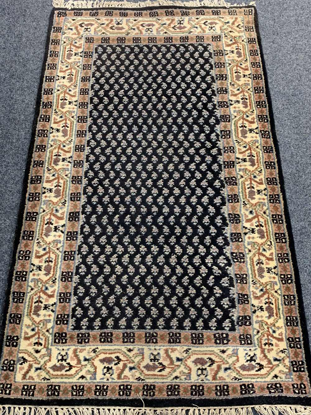 INDIAN 100% WOOL & OTHER BLUE GROUND CARPETS (2) - the Indian example with central repeating block - Image 4 of 5
