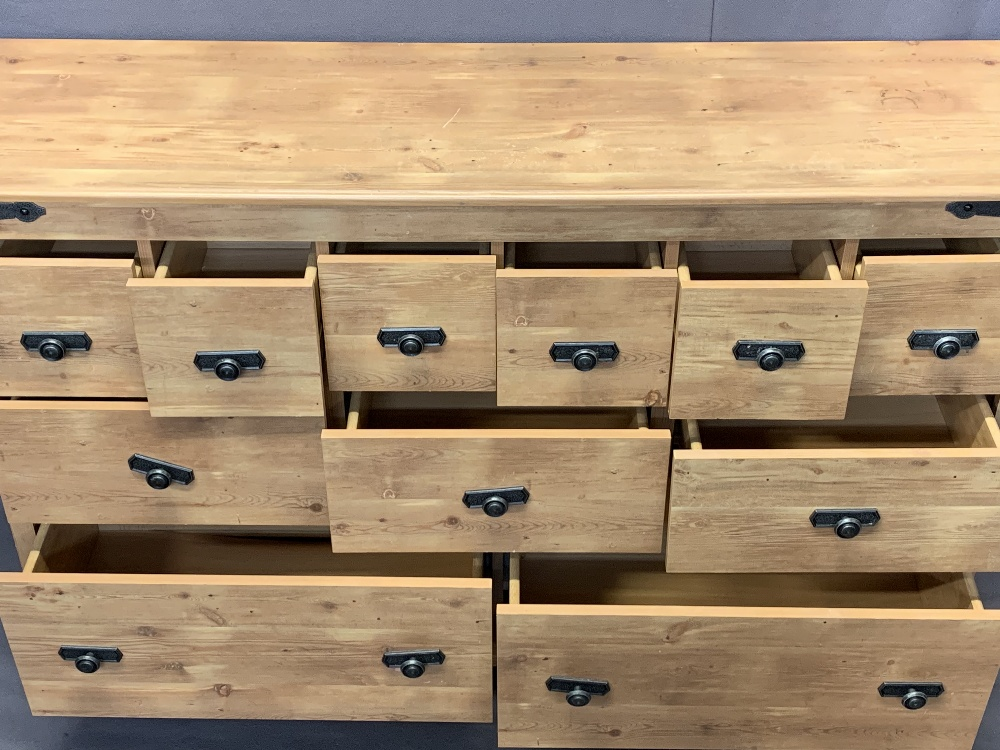 ULTRA MODERN LIGHT WOOD MULTI-DRAWER CHEST - six small, three central medium, two long on a plinth - Image 3 of 3