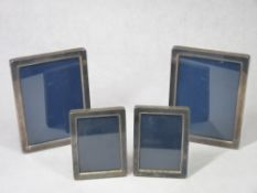 MODERN SILVER PHOTOGRAPH FRAMES, TWO PAIRS - all hallmarked Sheffield 1991, maker Carr's of