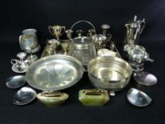 EPNS WARE - a boxed quantity to include a galleried tray, glass biscuit barrel with plated mounts,
