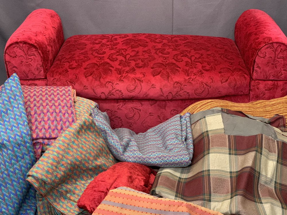 VINTAGE STYLE DAYBED WITH DROP END ARMS with a large quantity of upholstery fabric, the daybed