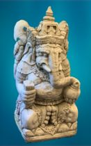 GARDEN STONEWARE - reconstituted statuary depicting Ganesh, 63cms H, 39cms W, 40cms D