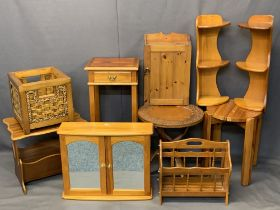 MODERN LIGHT WOOD FURNITURE ENSEMBLE, 10 PIECES - to include a yew wood single drawer hall table,
