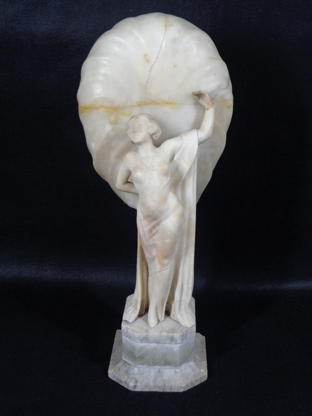 ART DECO CARVED ALABASTER LADY FIGURINE TABLE LAMP (repaired damages), 50cms H