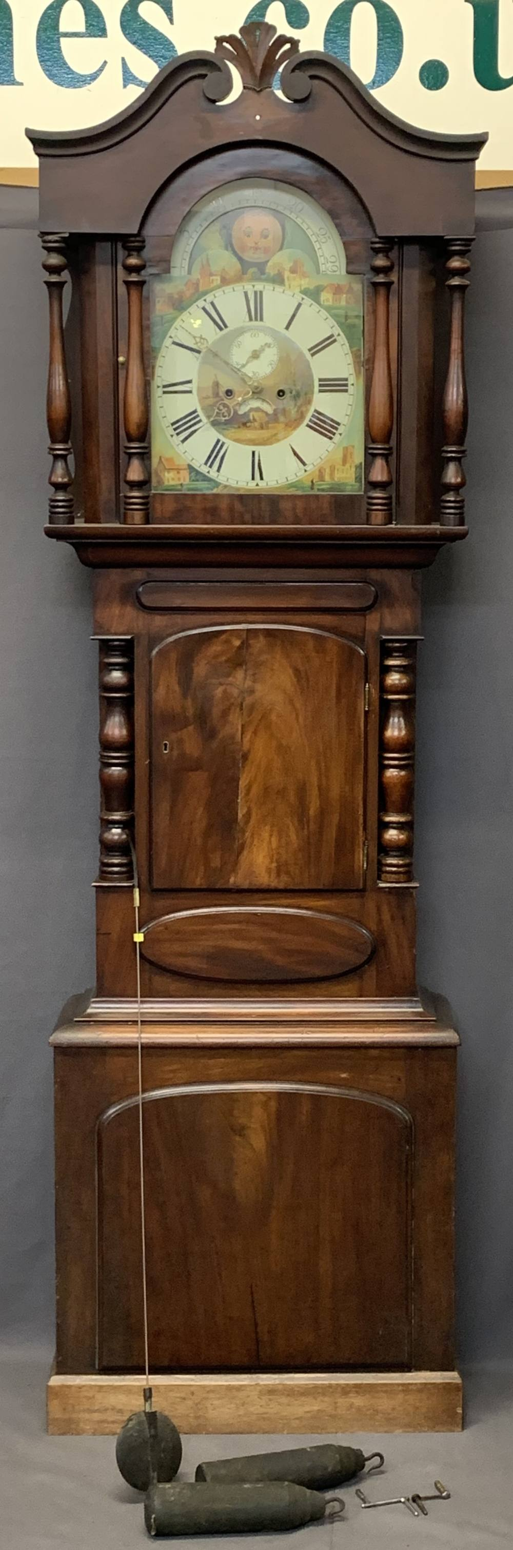 VICTORIAN MAHOGANY LONGCASE CLOCK - arched top, moon face dial with painted centre and spandrels set - Image 2 of 10