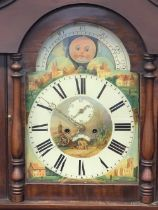 VICTORIAN MAHOGANY LONGCASE CLOCK - arched top, moon face dial with painted centre and spandrels set