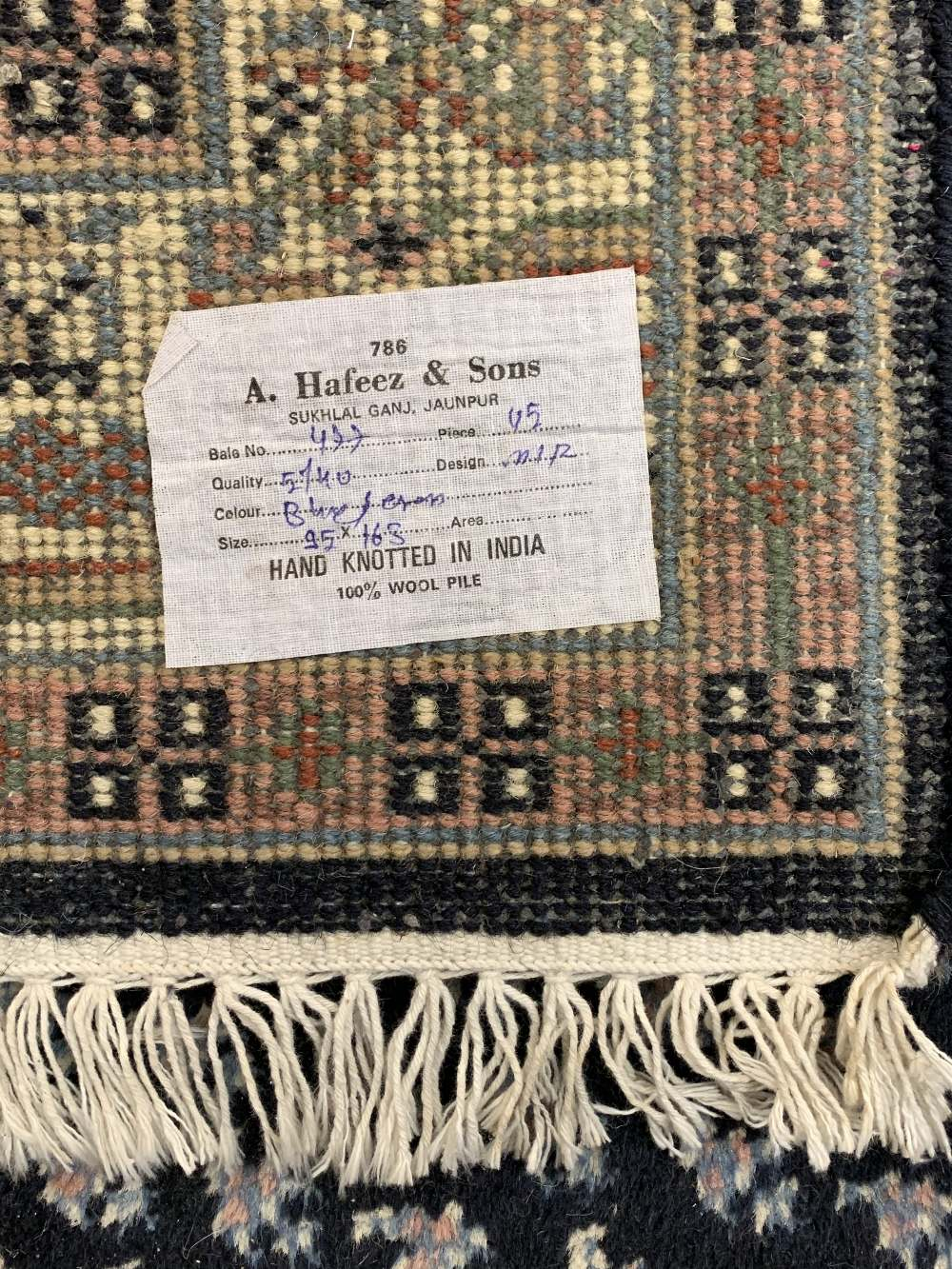 INDIAN 100% WOOL & OTHER BLUE GROUND CARPETS (2) - the Indian example with central repeating block - Image 5 of 5
