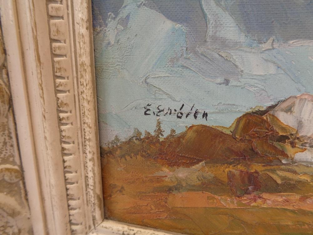 E EMLEN? oil on canvas - Alpine scene, 39 x 49cms - Image 2 of 3