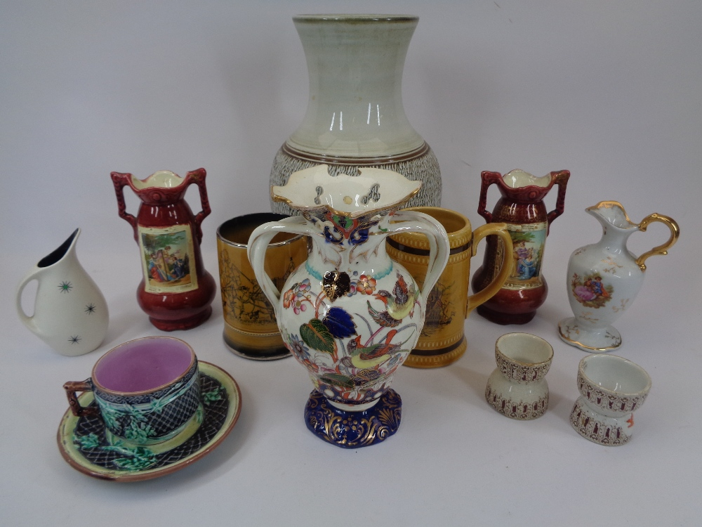 WHITE STARLINE DOUBLE EGG CUPS (2), Majolica cup and saucer, twin-handled bird decorated vase ETC
