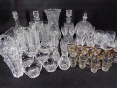 CUT GLASS & OTHER DECORATIVE VASES, DECANTERS & DRINKING GLASSWARE (within 3 boxes)