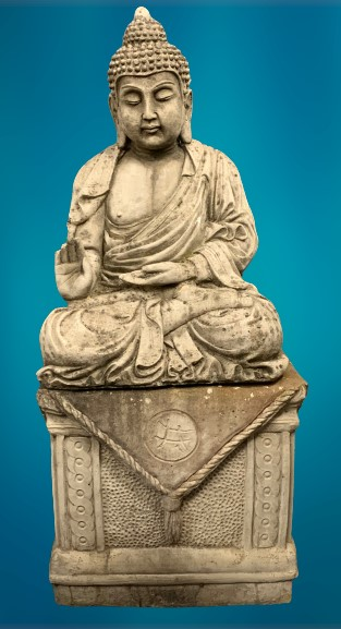GARDEN STONEWARE - reconstituted statuary depicting a seated Buddhist figurine on a rectangular