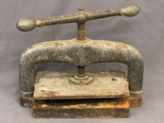 BOOK PRESS - large cast iron example with brass handles, 44cms H, 50cms W, 30cms D