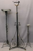 WROUGHT IRON LAMP/CANDLE STANDS (3) - 148, 124 and 74cm heights
