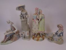 VICTORIAN & LATER PORCELAIN FIGURINES (4) - including a figural group of two young girls, seated