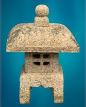 GARDEN STONEWARE - reconstituted ornamental pagoda, four section, 54cms H