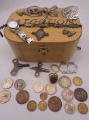 MIXED SILVER & OTHER JEWELLERY - lady's Seiko wristwatch, vintage coinage ETC to include a fully