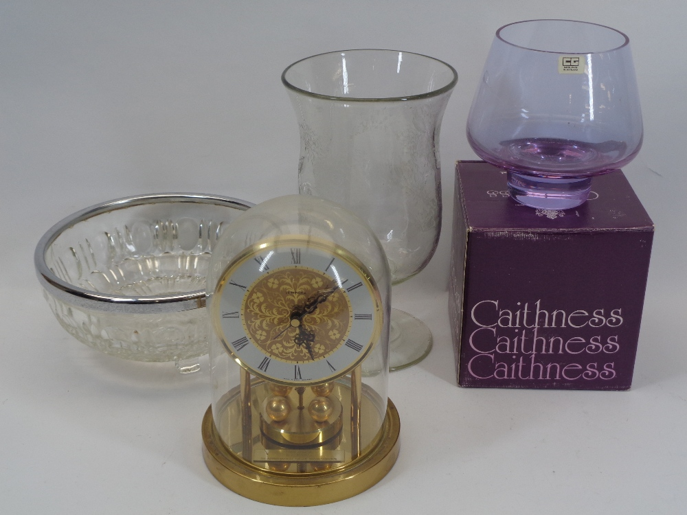 ANTIQUE CELERY VASE, LATER ENGRAVED, boxed Caithness and other glassware and a brass Anniversary