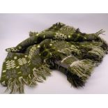 TRADITIONAL WELSH WOOL BLANKET - in green, grey and cream reversible pattern tones with original