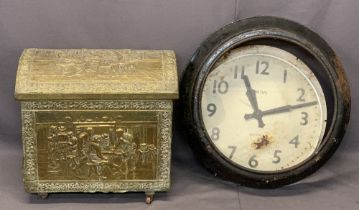 DOME TOP REPOUSSE BRASS COAL BOX and the remnants of a Smiths electric station wall clock, 47cms