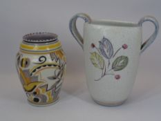 POOLE POTTERY & DENBY VASES (2) - the Poole example of baluster form with stylised decoration in