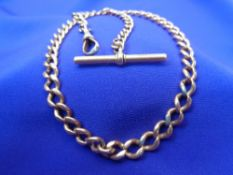 ANTIQUE 15CT GOLD ALBERT WATCH CHAIN/NECKLACE - T-bar and clip clasp, each of the main links T-bar
