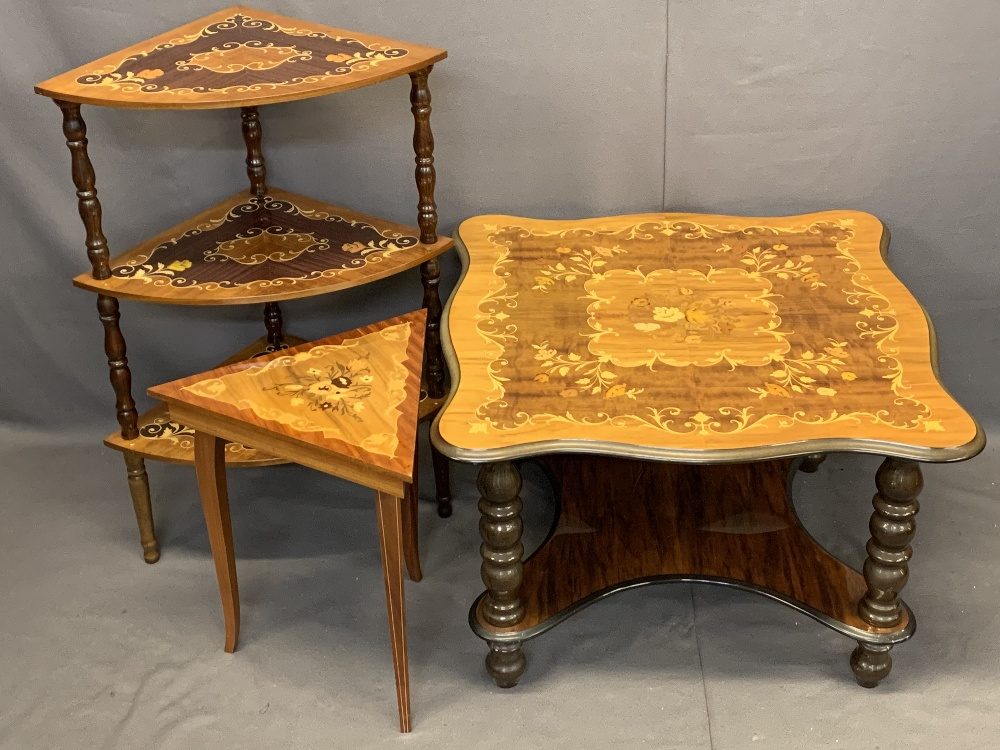 ITALIAN INLAID OCCASIONAL FURNITURE, 3 ITEMS - a two-tier coffee table on turned supports, 49cms