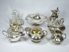THREE PIECE EPBM TEASET with a quantity of EPNS ware