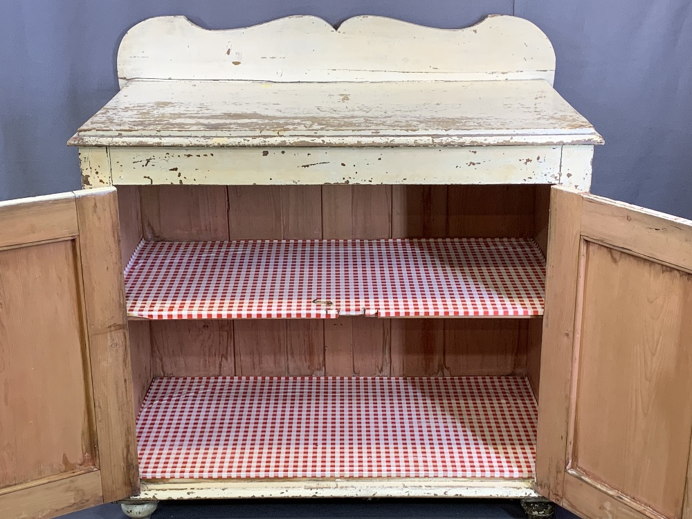 FARMHOUSE PINE RAILBACK CUPBOARD - painted white, two doors and an inner shelf, 102cms H, 102cms - Image 2 of 4