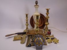 MIXED BRASS & OTHER HARDWARE COLLECTABLES - three round base brass candlesticks, Alabaster table
